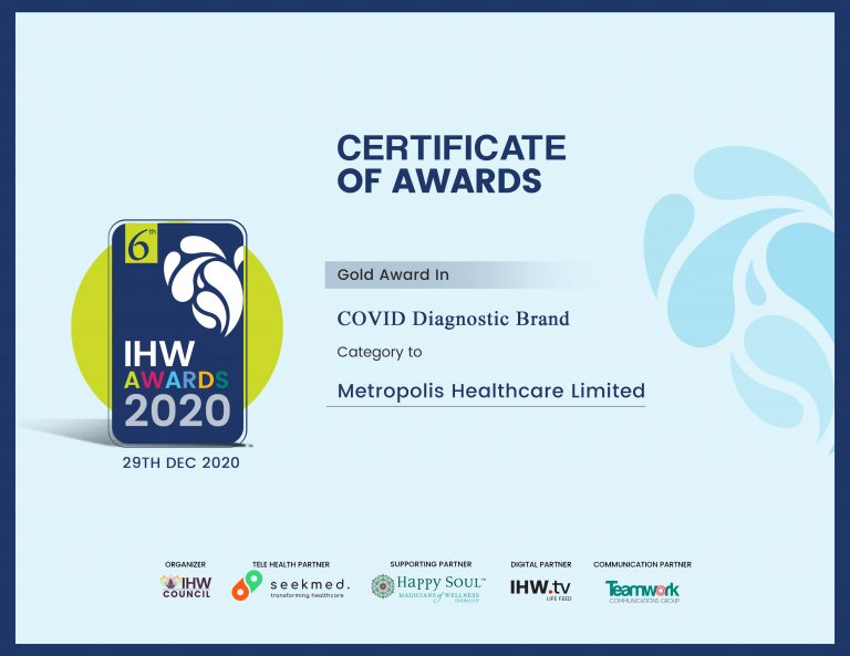 Metropolis Healthcare wins GOLD Award in two categories at India Health and Wellness Award 2020