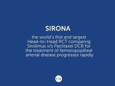 SIRONA – The world's first and largest RCT comparing Sirolimus V/S Paclitaxel balloon for the treatment of Peripheral Arterial Disease progresses rapidly